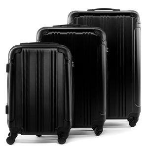 FERGÉ 3er Kofferset QUÉBEC ABS Dure-Flex schwarz 3er Hartschalenkoffer Roll-Koffer 4 Rollen Kofferset Hartschale 3-teilig