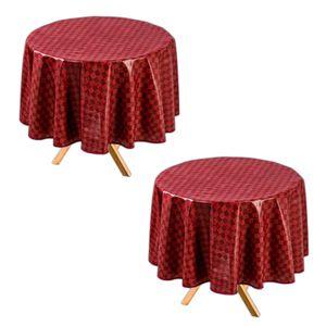 2er Set Tischdecke Rund Bordeaux Ø 140 cm Abwaschbar Wachstuch Gartentischdecke Wachstuchtischdecke Wachstischdecke