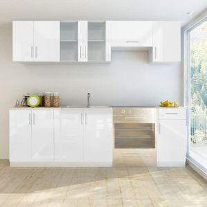 SIRUITON Küchenzeile 7-tlg. Hochglanz Weiß 240 cm