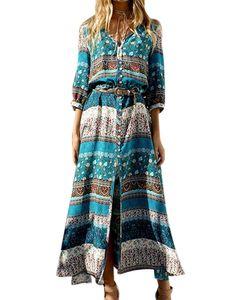 Langes Kleid zum Abnehmen mit böhmischem Druck für Frauen am Strand,Farbe: Grün,Größe:M