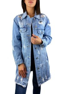 Worldclassca Damen Jeansjacke Oversized mit Rissen Jeans Denim Jacket Vintage lang Used WASH Übergangsjacke Blogger Denimwear Parka hellblau Denim Destroyed Mantel Cut Out XS-XL Neu