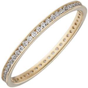 Damen Ring schmal 333 Gold Gelbgold mit Zirkonia rundum Goldring