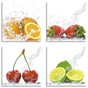 ARTland Leinwandbilder Set 4tlg. Früchte mit Spritzwasser Leinwandbild auf Platte 4er Set, Set-Preis Größe: je 30x30 cm