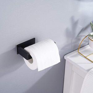 Edelstahl Toilettenpapierhalter Ohne Bohren, Selbstklebend Toilettenpapierrollenhalter,Schwarz