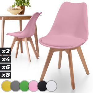 MIADOMODO® Esszimmerstühle 2er 4er 6er 8er Set - Skandinavischer Stil, gepolstert mit Sitzkissen, aus Kunststoff & Massivholz, Farbwahl - Vintage, Retro, Küchenstuhl, Stühle (2er, Rosa)