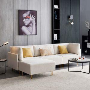 276 cm Ecksofa L-förmiges Stoffsofa Klassisches Sofa mit Metallbeinen und -kissen - Beige