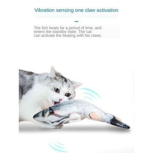 Elektrisches Fisch Katzenspielzeug, Lustiges Interaktives Katzenminzenspielzeug, 3D Katzenwedel Fischplüschtier, 30x11 Cm