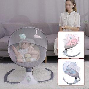 Elektrische Babywippe Baby Federwiege Schaukelstuhl 4-Gang Geschwindigkeitsverstellbare Babyschale mit Musik Timer für 0-12 Monate 3-12KG(Grau)