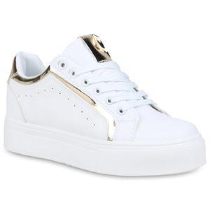 Mytrendshoe Damen Plateau Sneaker Plateauschuhe Schnürer Metallic 833720, Farbe: Weiß Gold Metallic, Größe: 39