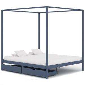 Doppelbett Bett Himmelbett-Gestell 2 Schubladen Grau Kiefernholz 180x200cm - klassische betten für Schlafzimmer