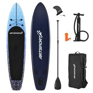 ArtSport Stand Up Paddle Board Deep Ocean aufblasbar – SUP Board Set mit Pumpe, Paddel, Tasche und Zubehör – Tragkraft bis 150 kg – Blau-Weiß