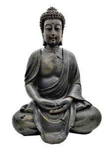 Buddha Figur 30,5 cm Vintage Grau Lotussitz