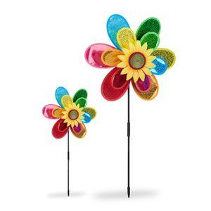 relaxdays 2x Windrad Gartendeko bunt Gartenstecker Windmühle Blume Windspiel Taubenschreck