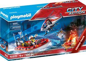 PLAYMOBIL, Feuerwehreinsatz mit Heli und Boot, City Action, 70335