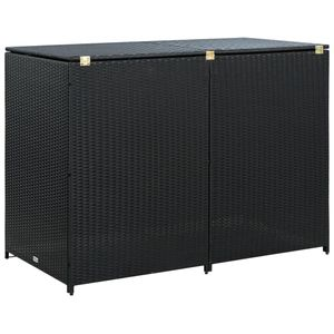 vidaXL Mülltonnenbox für 2 Tonnen Poly Rattan Schwarz 148x80x111 cm
