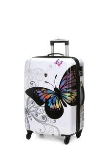 Print Trolley bags Bowatex Motiv Reise Koffer Dehnfalte Schmetterling Weiss 68cm