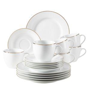 Mäser 931532 Kaffeeservice Professional Dining für 6 Personen, Porzellan, weiß (1 Set, 18-teilig)