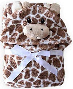 Kapuzenhandtuch Baby: Mikrofaser Bademantel - Babyhandtuch mit Kapuze - Kapuzenbadetuch (Giraffe braun)