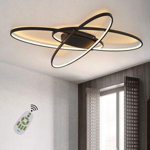 ZMH LED Dimmbar Deckenleuchte Modern Schwarz WohnzimmerlampeWarmweiß/Neutralweiß/Kaltweiß 75W Innen Deckenbeleuchtung
