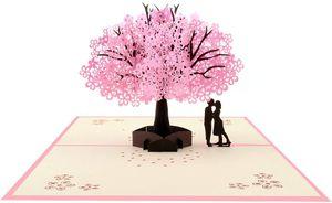 3D Grußkarten Geburtstagskarte Hochzeitskarte Pop Up Karte Liebe, Wedding Card Glückwunschkarte Geburtstags Muttertags Hochzeitstag Valentinstag, Geschenke zur Hochzeit, Kirschblüte, MEHRWEG— QingShop