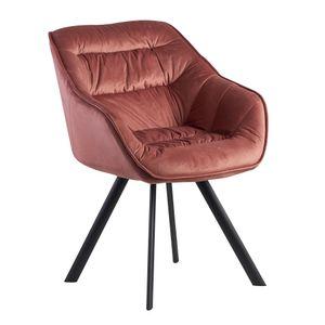 WOHNLING Esszimmerstuhl Samt Rosa Gepolstert | Küchenstuhl mit Schwarzen Beinen | Moderner Schalenstuhl mit Armlehnen | Design Polsterstuhl Stoffbezug