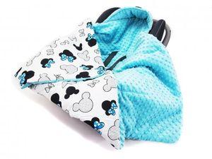 Doppelseitige Einschlagdecke 90x90 cm für Babyschale Autokindersitz Buggy Kinderwagen 90x90cm - universal baby Decke (z.B. Maxi-Cosi/Cybex/Römer), Muster: Mickey Mouse weiss -Minky blau