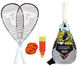 Talbot-Torro Speed-Badminton Premium-Set Speed 7700, 2 kraftvolle Graphit-Composite Rackets, 6 windstabile Federbälle, Court-Liniensystem zur Spielfeldmarkierung, im trendigen Rucksack