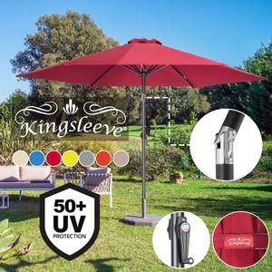 Sonnenschirm 300cm UV-Schutz 50+ wasserabweisend Kurbelsonnenschirm Gartenschirm Marktschirm, Farbe:beige