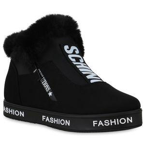 Mytrendshoe Damen Plateau Sneaker Warm Gefütterte Schuhe Kunstfell Turnschuhe 823899, Farbe: Schwarz, Größe: 41