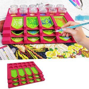 5D Diamond Painting Tray Organizer, DIY Diamant Malerei Tools für Erwachsene, Diamond Arts Zubehör-Kit mit 12 Steckplätzen für Bohrschalen