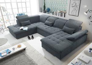 """Funktionale Couch """"Wayne"""" Sofa Schlafcouch Bettsofa Schlafsofa Sofabett Wohnlandschaft ausziehbar anthrazit Ottomane links U-Form"""