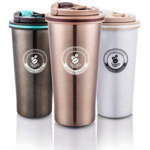 Coffee Cloud Edelstahl Kaffeebecher 500ml | Doppelwandig vakuumisolierter Travel Mug | Thermobecher aus Edelstahl | Isolierbecher BPA Frei, Leicht & Auslaufsicher (Bronze)…
