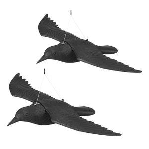 relaxdays 2x Taubenschreck Krähe Vogelabwehr Taubenabwehr Vogelscheuche Gartenfigur Rabe