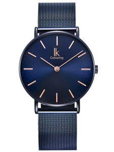Alienwork Navy Blue Herren Damen Armbanduhr Quarz blau mit Metall Mesh Armband Edelstahl Ultra-flach Slim-Uhr