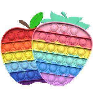 2X Push Pop It Pop Blase Sensorisches Zappeln Spielzeug Autismus Stressabbau Kinder Lernspielzeug(Erdbeere + Apfel)