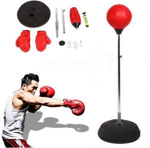 Punchingball Effizient Boxtraining Set mit Boxhandschuhen und Ständer Verstellbar Höhe 120-150 cm Rot