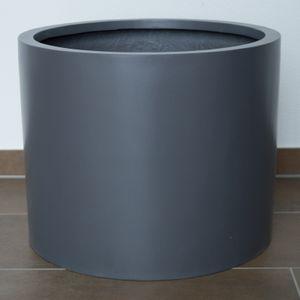 Pflanzkübel Fiberglas, zylindrisch D70xH60cm Anthrazit-Metallic, Farbe:Anthrazit Metallic