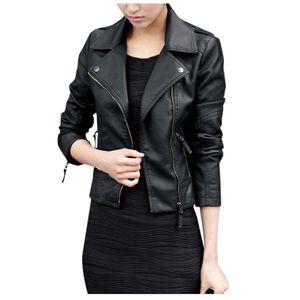 Trendy Damen Leder Reißverschluss Jacke Slim Biker Motorrad Mantel Punk Outwear Größe:M,Farbe:Schwarz