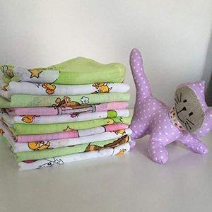 20 Stück - Stoffwindeln Stoffwindel Mullwindeln Spucktuch Spucktücher mit buntem Aufdruck für Mädchen  60x80 cm  aus 100% Baumwolle