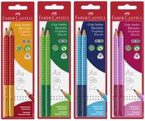 FABER-CASTELL Bleistift Jumbo GRIP TWO TONE 2er Set zufällige Farbe (2 Stifte)