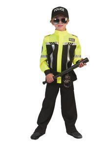 Polizei Kinder Kostüm Paul Schwarz/Gelb 140