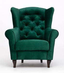 Grün Relaxsessel aus Wellenfedern ADAM Ohrensessel für Zuhause Fernsehsessel Sessel Velour