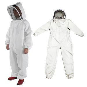 Size_L Imker Ganzkörperschutzanzug Hutärmel Bienenzuchtjacke L. Weiß Imkeranzug Alles in einem