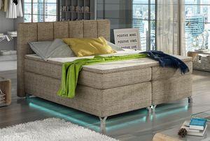 Boxspringbett Polsterbett Bett Bettkasten LED 160x200 Strukturstoff creme