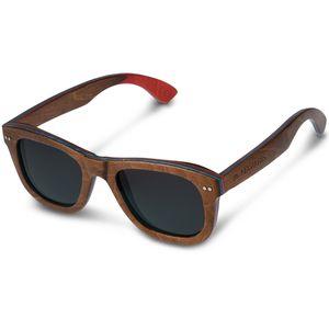 Navaris Holz Sonnenbrille UV400 - Damen Herren Brille uni - polarisierte Holzbrille aus Skateboard Holz - Holzoptik unterschiedliche Farben