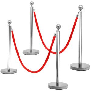 Yaheetech 4 x Personenleitsystem Absperrung mit Kordel Absperrpfosten sicherer Stand Durchgangssperre rot-Silber