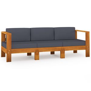 vidaXL 3-Sitzer-Gartensofa mit Dunkelgrauen Auflagen Massivholz Akazie