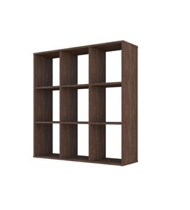 Polini Home Raumteiler Bücherregal Regal H 106,9 x B 103,7 x T 29 cm, 9 Fächer, vintage, Farbe dunkle Eiche