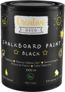 Creative Deco-Tafelfarbe | 1000ml Täfelfarbe | Mattschwarze Farbe für Wände, Holz, Metall, Glas und andere | Effizient | Wasserbasierend | Ungiftig | Perfekt zum Kreideschreiben und Zeichnen