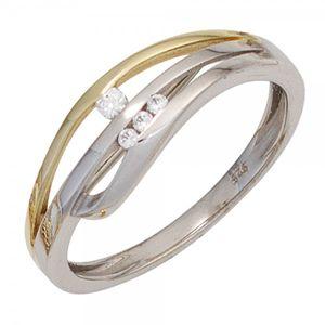 JOBO Damen Ring 925 Sterling Silber rhodiniert teilvergoldet 4 Zirkonia Silberring Größe 52